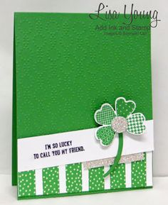 Stampin' Up! Flower Shop stamp set made into a shamrock (4-leaf clover!). Saint Patrick's Day card with Washi Tape .