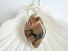 Wire Wrapped Jasper, Horse, Pendant, Necklace, Gemstone