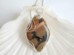 Wire Wrapped Jasper, Horse, Pendant, Necklace, Gemstone