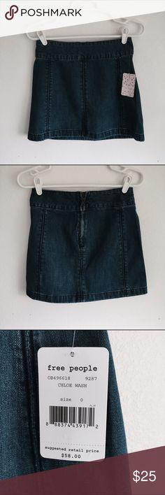 Free People Denim Mini Skirt Free People Denim Mini Skirt. Size 0. New with tags, no flaws. Free People Skirts Mini
