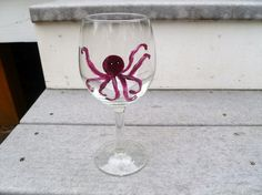ONE  Hand Painted Octopus Wine Glass in your by mulberrymoosetoo, $8.00