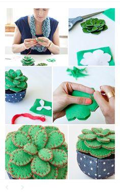 Handmade succulents five ways Handmade felt succulent by Hallmark artist Leslie Seibert Cute Crafts, Felt Crafts, Fabric Crafts, Sewing Crafts, Sewing Projects, Craft Projects, Felt Projects, Hand Sewn Crafts, Felt Diy