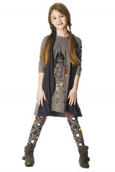 deux par deux shy love girlie dress with vest Princess Outfits, Cute Girl Outfits, Kids Outfits, Dress With Cardigan, Gray Dress, Fashion 101, Kids Fashion, Preteen Girls Fashion, Boho Girl