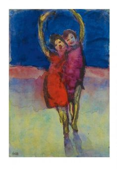 Emil Nolde - Freude, nd.Emile Nolde (German~Danish 1867~1956)   He was one of the first Expressionists, a member of Die Brücke.Artist Emile NoldeFosterginger.Pinterest.ComMore Pins Like This One At FOSTERGINGER @ PINTEREST No Pin Limitsでこのようなピンがいっぱいになるピンの限界He was one of the first Expressionists, a member of Die Brücke, and is considered to be one of the great oil painting and watercolour painters of the 20th century.