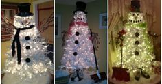 white tree snowman