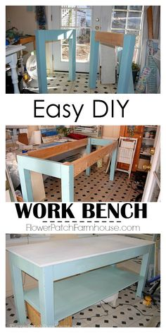 Easy DIY work bench table, easy enough for just about anyone. FlowerPatchFarmhouse.com