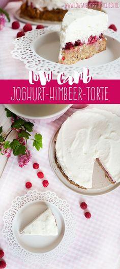 Frühlingshafte Low Carb Joghurt-Himbeer-Torte (glutenfrei) www.lowcarbkoestlichkeiten.de
