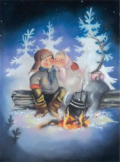 Winter, Illustration, Artist, Cards, Painting, Baby Dolls, Christmas, Winter Time, Artists