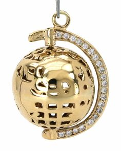 STYLISH VINTAGE SOLID 14K YELLOW GOLD & DIAMONDS MOVABLE GLOBE CHARM PENDANT 7.2 grams