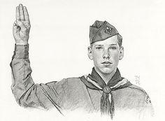 Norman Rockwell -Boy Scout,pledge -pencil