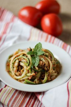 Spiralized Zucchini Noodles with Sicilian Mint Pesto l www.stephinthyme.com