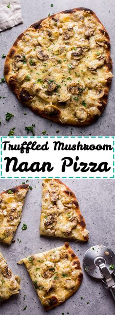 This vegetarian truffled mushroom naan pizza is super easy, a little fancy, and tastes way better than you'd expect from a quick homemade pizza!
