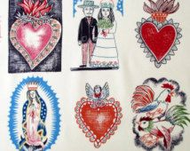 Fabric, El Barrio Hoyo in Tea, Alexander Henry, Mexican Folklorico, Guadalupe Sacred Hearts, By the Yard