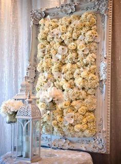 Fabulous flower art - framed flower wall - great decor for a wedding Deco Floral, Floral Wall, Floral Artwork, Reception Decorations, Event Decor, Deco Champetre, Floral Backdrop, Celebrity Weddings, Flower Art