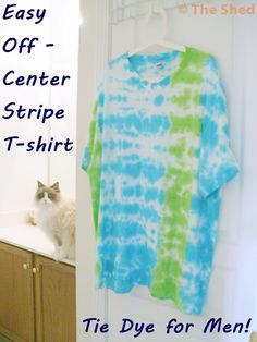 Father's Day Gift Idea ----> Tie Dye for Men: Easy Off-Center Stripe T-Shirt Tutorial - great project for the kids to make for Dad!