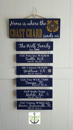ON SALE Home is where the Coast Guard sends us - All Blue Boards - U.S. Coast Guard, Coastie Life, Coast Guard Family, Patriotic Wall Décor