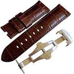 OEM authentic Panerai dark brown alligator leather deployment buckle watch band strap 24mm