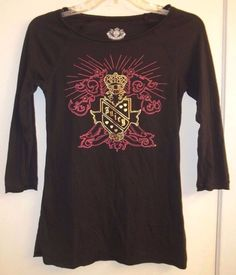 Juicy Couture  Size Petite or XS Long Sleeve Tunic Shirt Black with Bling #JuicyCouture #Shirt