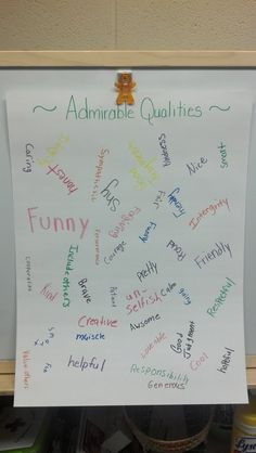 Admirable Qualites Poster- savvyschoolcounselor.com  activity from Bullying in the Girl's World