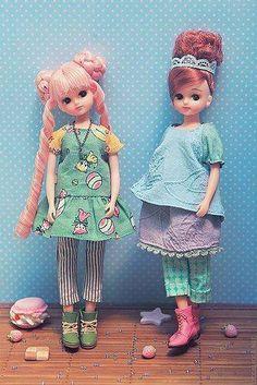 Sewing for Licca: 'Playground' outfits Pretty Dolls, Cute Dolls, Doraemon, Kawaii Doll, Bear Doll, Little Doll, Barbie Dress, Diy Doll, Ball Jointed Dolls