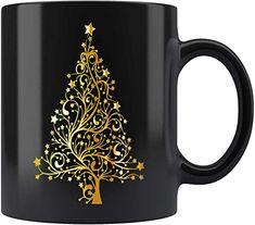 Christmas Mugs, Christmas Tree, Tea Cups, Coffee Mugs, Gold, Gifts, Christmas Mug Rugs, Teal Christmas Tree, Presents