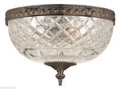 Dome Ceiling Fixture Crystal & Bronze Hand Cut 24% Lead New Free shipping #Transitional