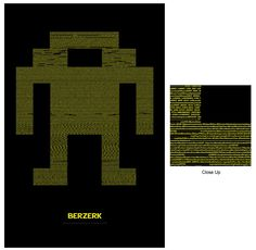Berzerk Source Code Poster. I created a poster of one the iconic robots from the Atari 2600 game Berzerk using the game's actual source code.