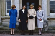 In November 1987, Princess Diana visits her old boarding school in Sevenoaks, Kent, with her two sisters Lady Jane Fellowes (far left) and Lady Sarah McCorquodale (far right)