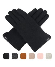 HINY Mens Black Plush Lined Outdoor Cold Weather Thick Winter Gloves