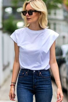 A white tee and denim. Please visit our store for more bargains at 1ChicFashionDesign.com and get 90% OFF, Free Shipping worldwide, and 30 money back gauranteed...