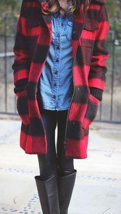 #winter #fashion / plaid coat + boots