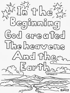 Coloring Pages for Kids by Mr. Adron: Genesis 1:1 Coloring Page, Free