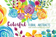 Colorful Flower Abstracts by SLS Lines on Creative Market