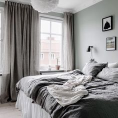 Bedroom with light green walls and grey bedding Light Green Bedrooms, Bedroom Green, Dream Bedroom, Home Bedroom, Bedroom Decor, Linen Bedroom, Bed Linen, Bedroom Styles, My New Room