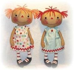 I am making my version of these modern Raggedy Annes! I've been wanting to make Mya some dolls :)