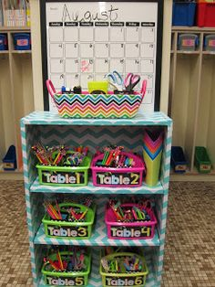 Each table has their own organizer fill with supplies that they would need. Located near the writing center for quick access to materials.