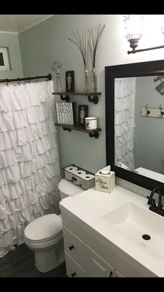 farmhouse bathroom S.- sea salt walls farmhouse bathroom S. Hall Bathroom, Upstairs Bathrooms, Modern Bathroom Decor, Bathroom Colors, Modern Decor, Bathroom Ideas, White Bathroom, Budget Bathroom, Bathroom Organization