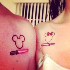 This cutesy and geeky Minnie and Mickey mouse design. | 43 Adorable Couples' Tattoos That Will Stand The Test Of Time