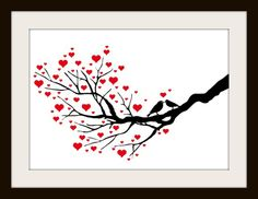 Birds Cross Stitch Patterns | Birds Kissing On A Heart Tree Cross Stitch Pattern