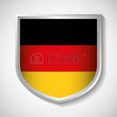 Isolated and Colorfull illustration Avatar, Shield Icon, Frankfurt, Germany, Flag, Yellow, Illustration, Red, German Women