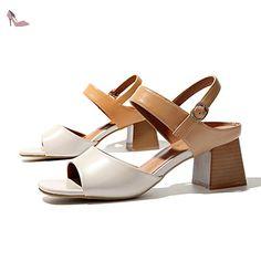 Talons Hauts Ouverts Britanniques/Rétro Avec Le Mot Avec Des Sandales Romaines-B Longueur du pied=22.8CM(9Inch) - Chaussures sandales (*Partner-Link)