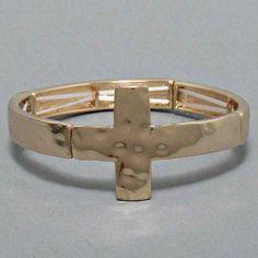 "$7.99 Sale #cybermonday #stockingstuffer Amazon.com: Designer Inspired Sideways Cross Gold Stretch Bracelet. 1 1/8"" H: Jewelry"