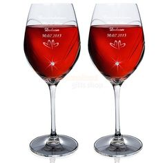 Personalised Swarovski Diamante Wine Glasses - Small Hearts Design  from Personalised Gifts Shop - ONLY £44.95