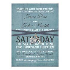 Vintage Blue Paper Wedding Invitation
