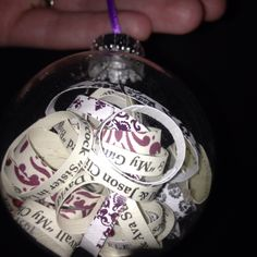 ornament made from my cousin's wedding invitation. This was a DIY gift ...