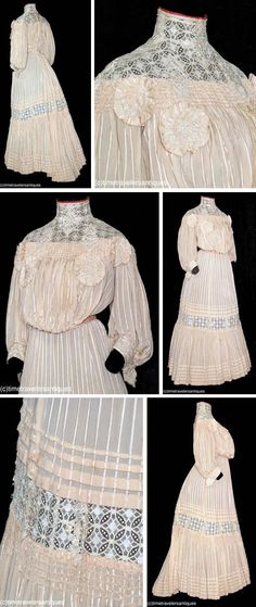 Day dress ca. 1905. Beige striped silk brocade charmeuse. Two pieces, with blind back hook & eye closure. Bodice has yoke of mixed lace, standup collar with scarlet edge and embroidered French knots, and ruched band with embroidered rosettes. Rosettes also on cuffs and lace band of skirt, which has inverted pleated tail and hook & eye back closure. Pintuck pleated & deeply ruched ruffled hem; unlined. Time-travelers/ebay
