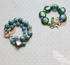 Blue and Green Ceramic Double-Strand Bracelet on Etsy, $49.00