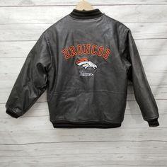 f6e6d6aa7 Denver Broncos NFL Kids M 12/14 Faux Leather Distressed Bomber Jacket Coat # NFL