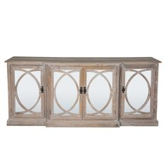 Old reclaimed pine sideboard mirror doors and sweeping circular fretwork detail. This unit has a grey wash finish. Trade Secret, Grey Wash, Mirror Door, Early Bird, Doors, Cabinet, Detail, Storage