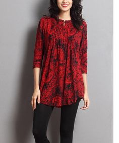 Look at this Red & Black Paisley Notch Neck Tunic on #zulily today!